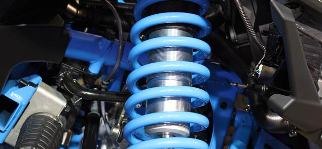 blue suspension in a car